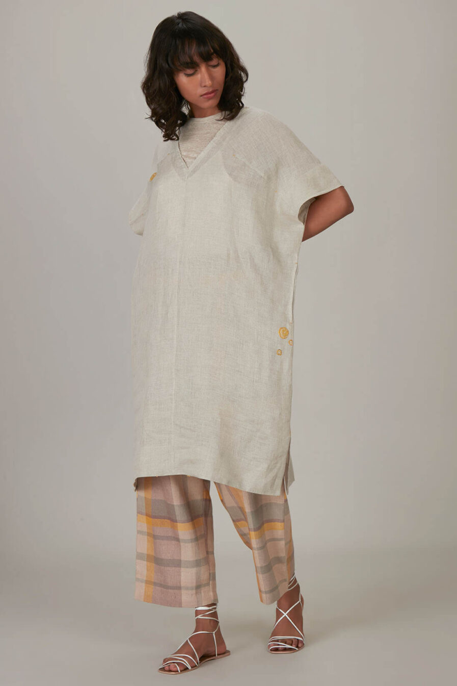 Anavila Natural V-Neck Jersey Linen Tunic