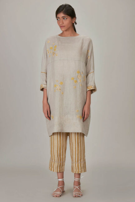 Anavila Yellow Khatwa Detailed Spring Bloom Dress