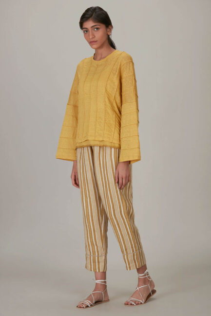 Anavila Yellow Jersey Corded Shirt