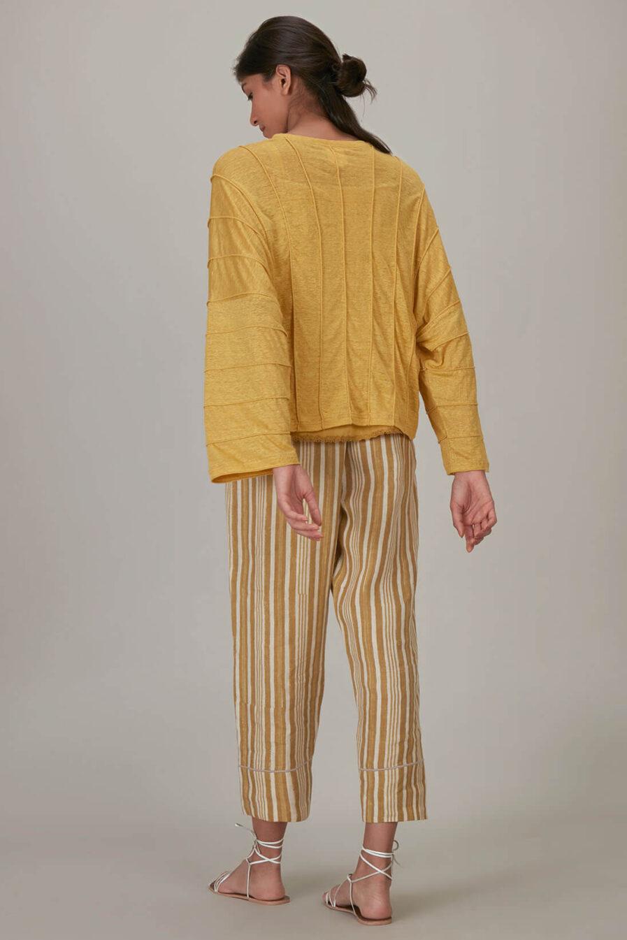 Anavila Yellow Jersey Corded Shirt
