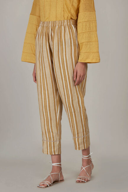 Anavila Yellow Block Printed Stripes Organic Linen Trouser