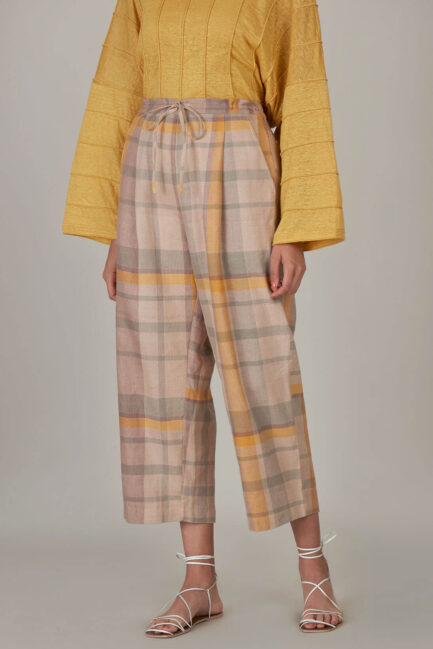 Anavila Yellow Plaid Linen Trouser