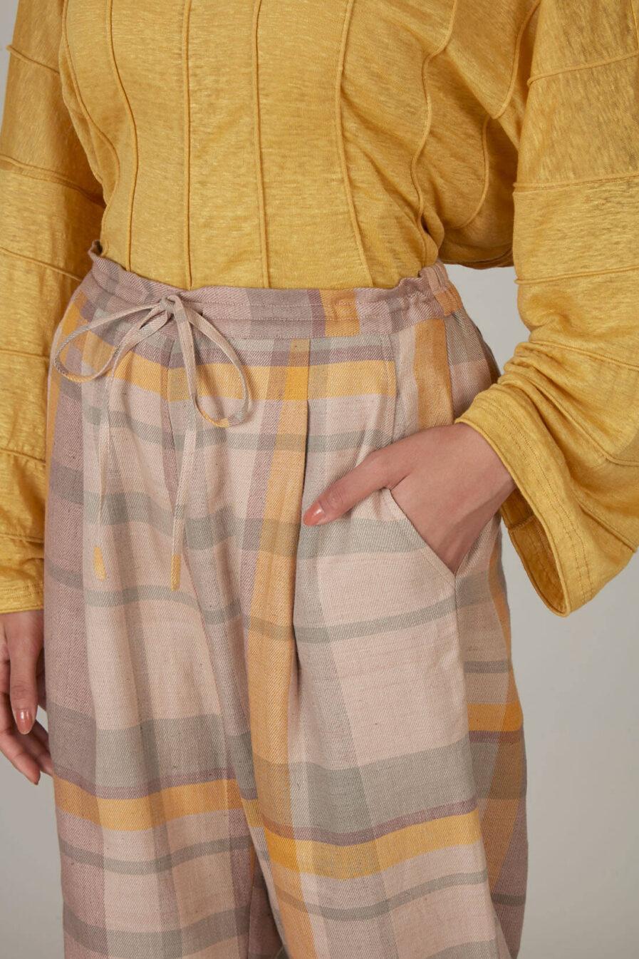 Anavila Yellow Plaid Linen Trouser
