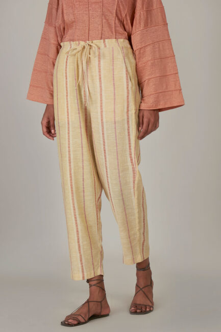 Anavila Yellow Striped Organic Cotton Trouser