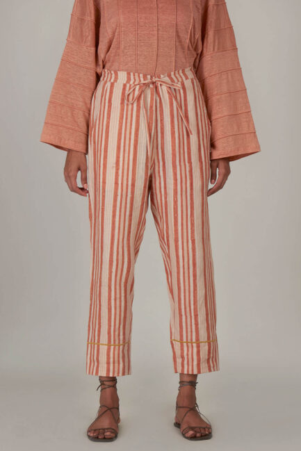 Anavila Peach Block Printed Stripes Organic Linen Trouser
