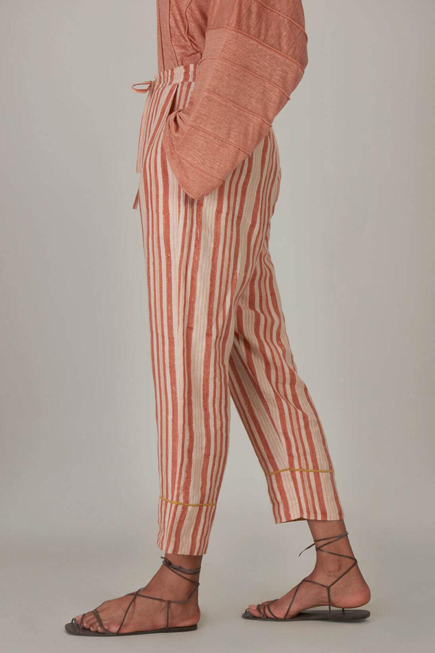 Anavila Peach Block Printed Stripes Organic Linen Trouser