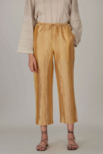 Anavila Yellow Metallic Trouser