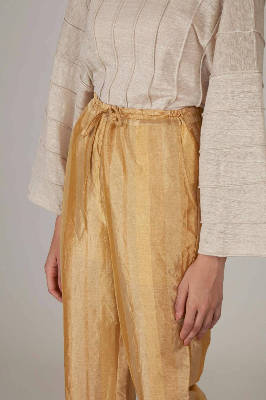 Anavila Yellow Metallic Trouser