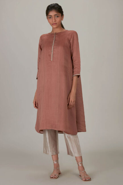 Anavila Madder Irregular Linen-Silk Tunic