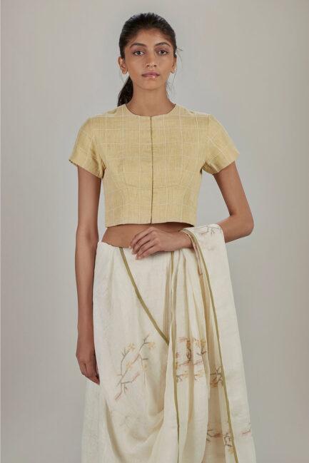 Anavila Yellow grid linen blouse