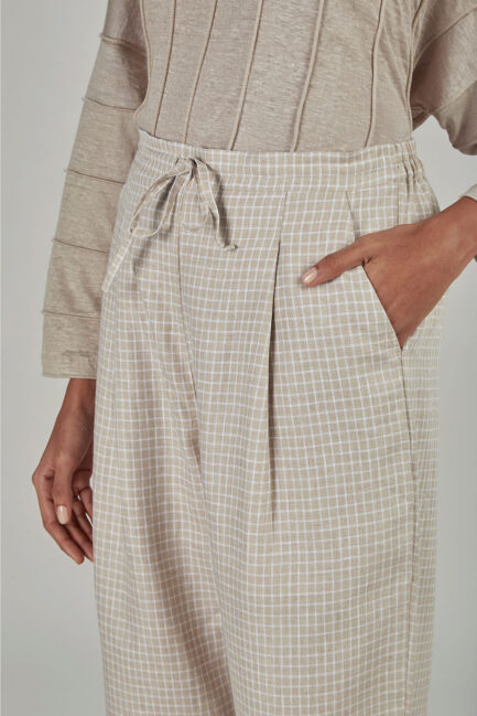 Anavila Small checkered linen trouser