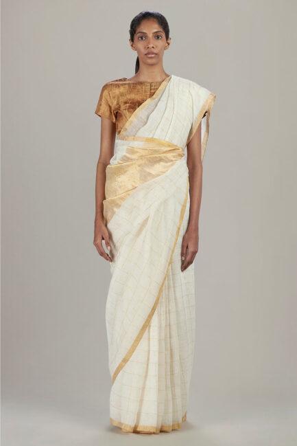 Anavil Golden checkered ivory sari