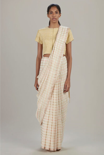 Anavil Multi silk checkered sari