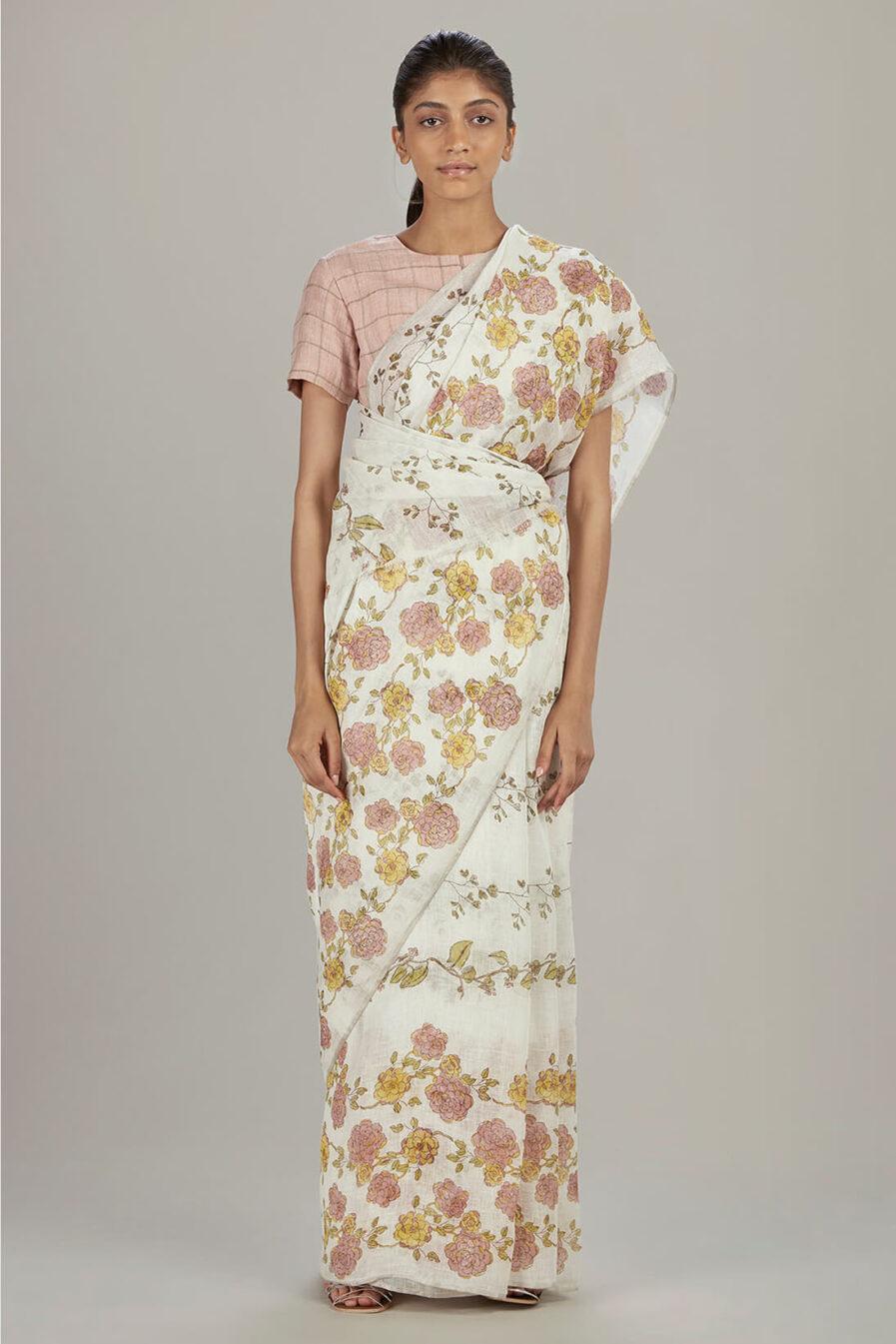 Anavil Floral block printed sari