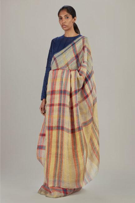 Anavil Autumn plaid sari