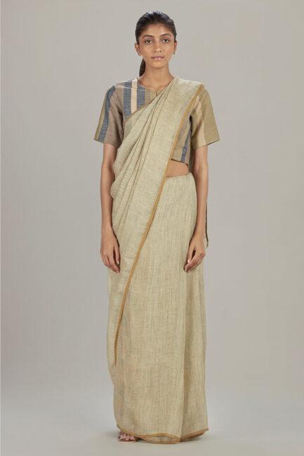 Anavil Tie & dye linen sari
