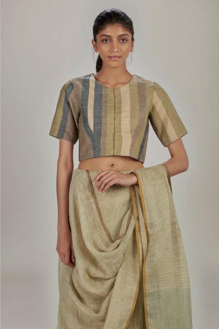 Anavila Striped linen blouse