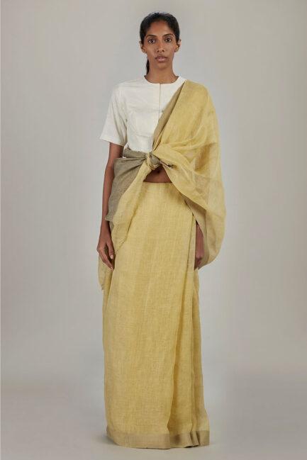 Anavil Twill border summer linen sari