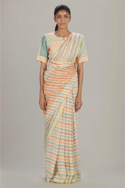 Anavil Graded stripe linen sari