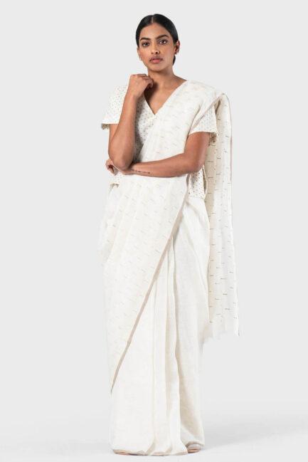 Anavila Ivory Linen slub detail sari