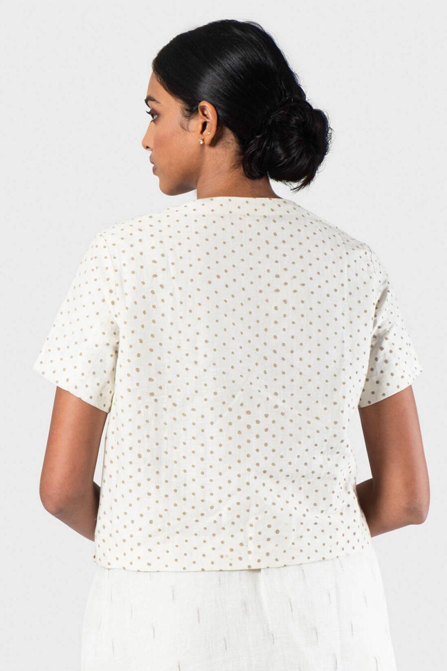 Anavila White V-neck polka blouse