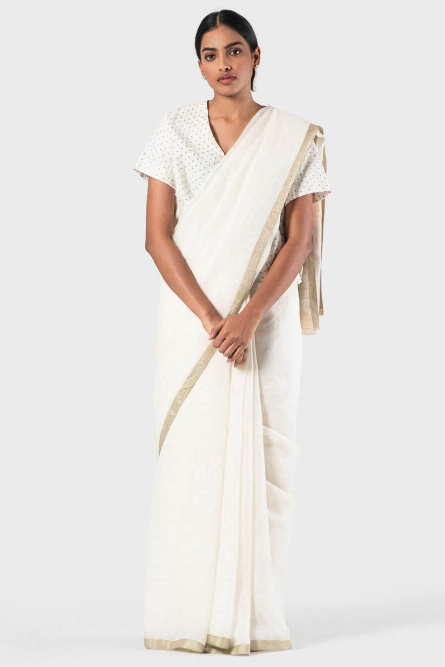 Anavila Ivory basic zari white sari