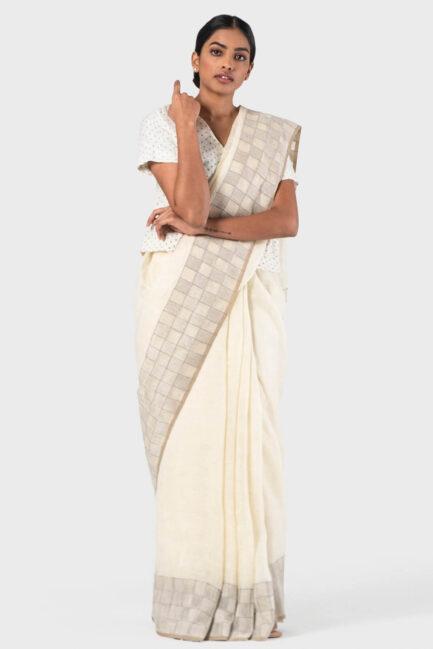 Aavila Ivory Checkered jamdani border pallu sari