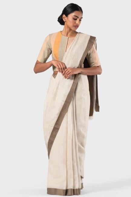 Anavila Ivory Twill border summer linen sari