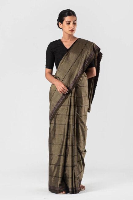 Anavila Khaki Silk jacquard sari