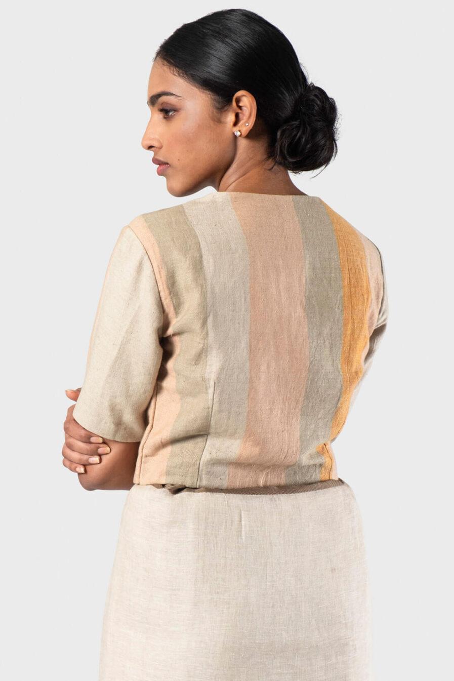 Anavila Peach Linen stripes blouse
