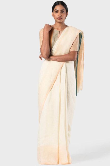 Anavila Ivory Peach and teal selvedge linen sari