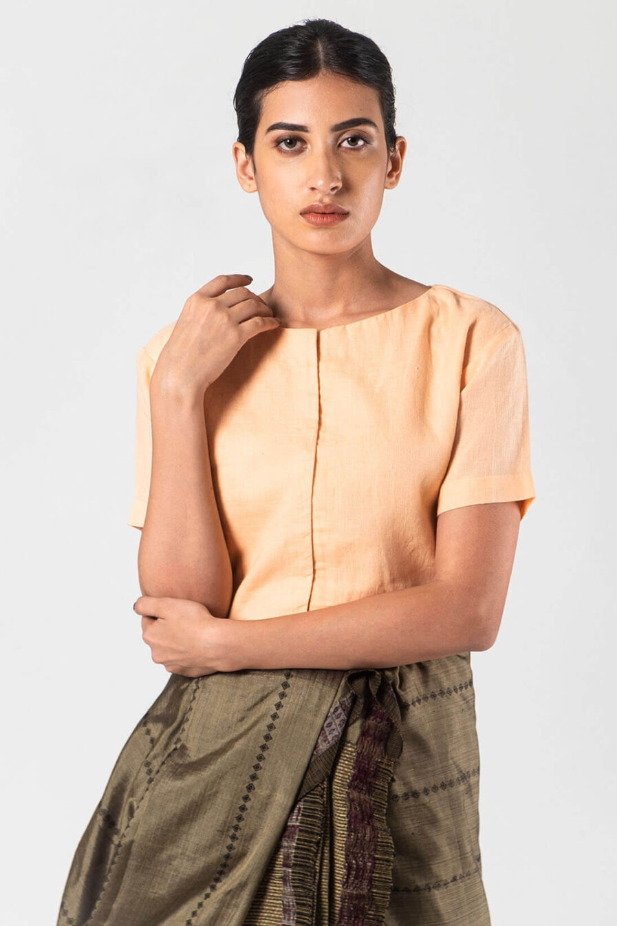 Anavila Peach Basic linen blouse