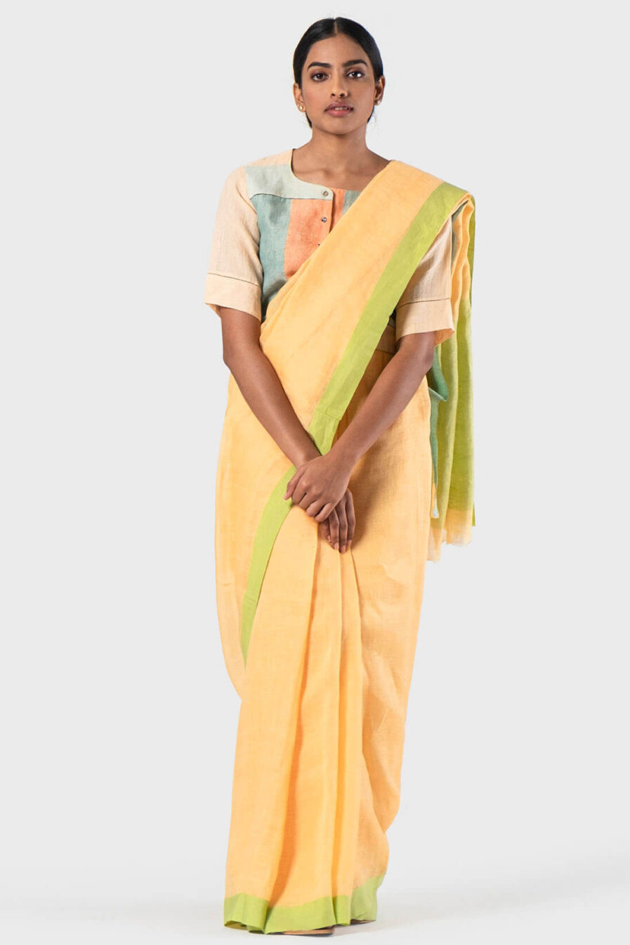 Anavila Light orange Mint cotton border sari
