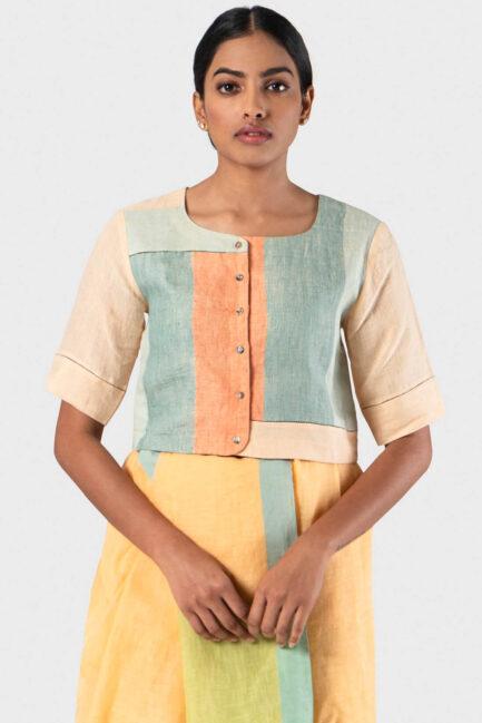 Anavila Multi colour block faggeting blouse