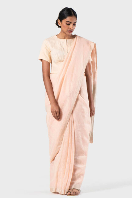 Anavila Peach Basic festive sari