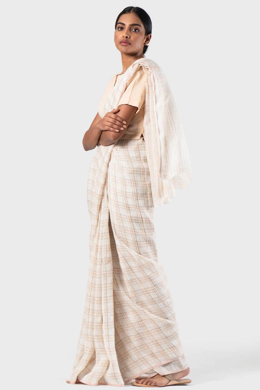 Anavila Ivory Summer plaid sari
