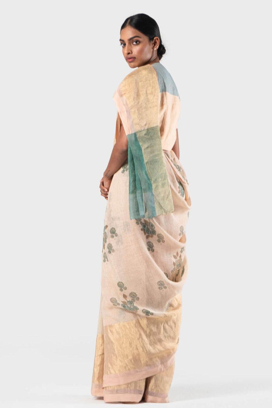 Anavila Peach Blue floral sari