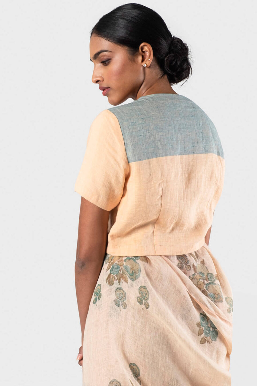 Anavila Multi peach Colour block linen blouse