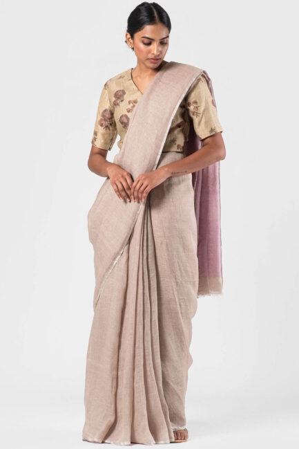 Anavila Beige Lavender pallu sari
