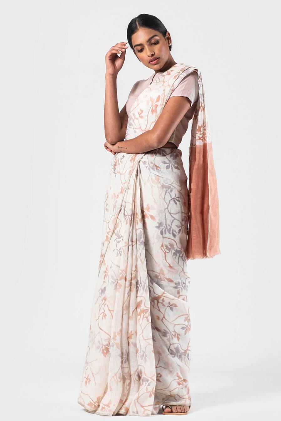 Anavila Natural All over floral batik linen sari