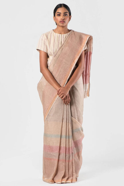 Anavila Natural pink Autumn stripe zari sari