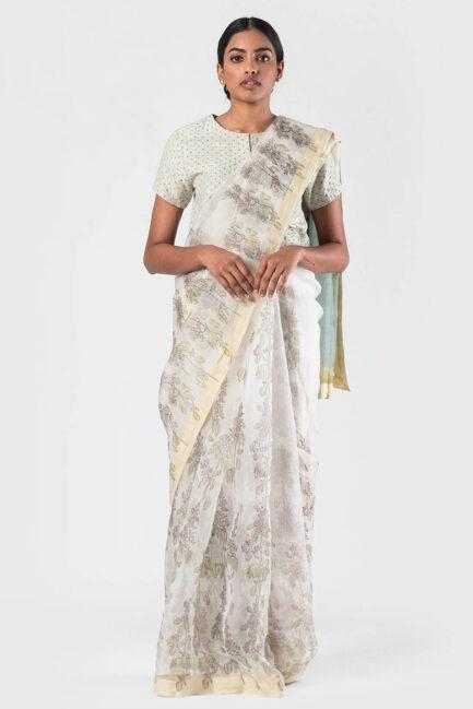 Anavila White Mayflower trellis organza sari