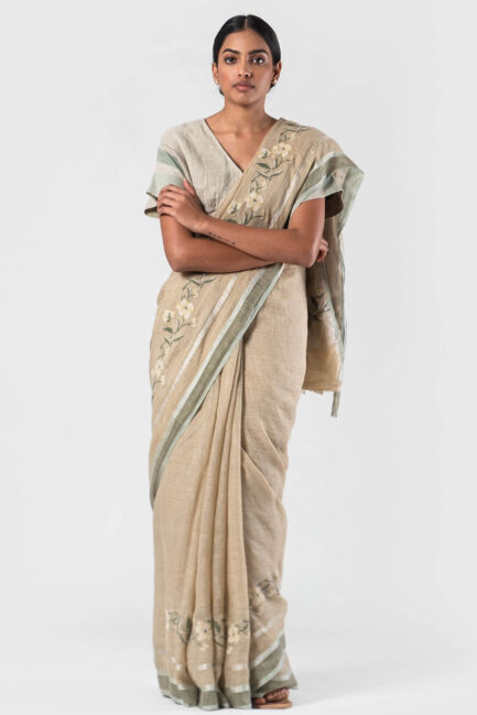 Anavila Beige Flora cross stitch sari