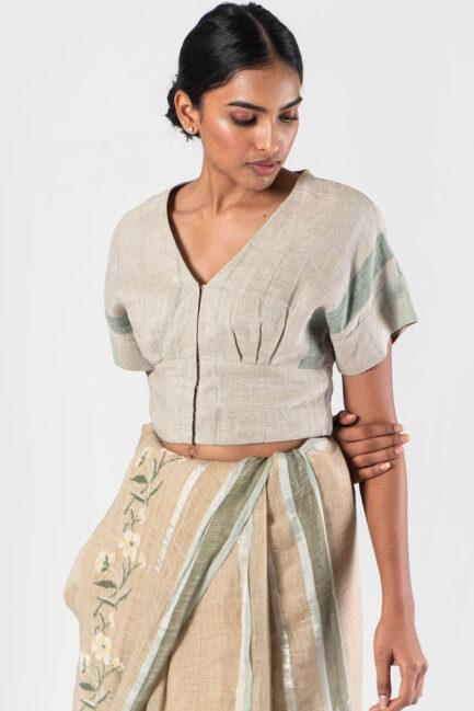 Anavila Mint V-neck pleated yoke blouse