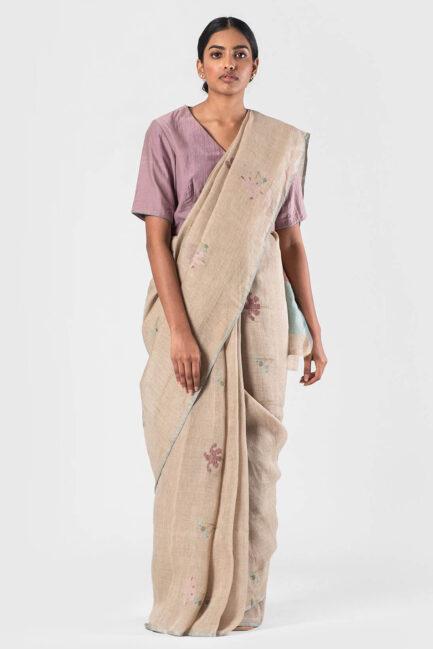 Anavila Natural Mayflower jamdani sari