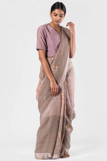 Anavila Natural Pink shaded jamdani sari