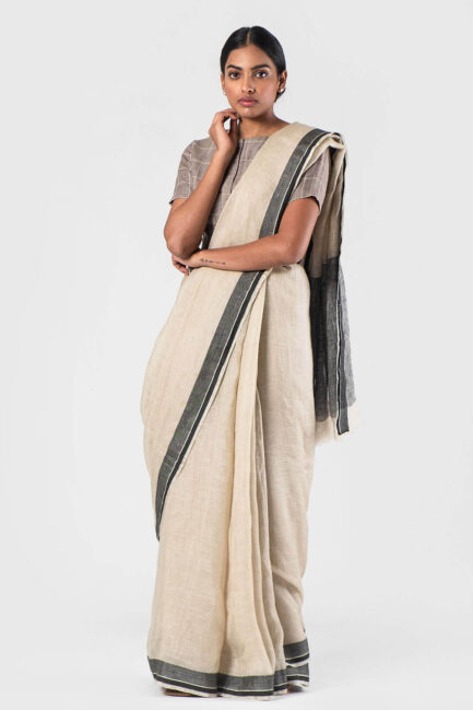 Anavila Beige and black Jacquard border sari