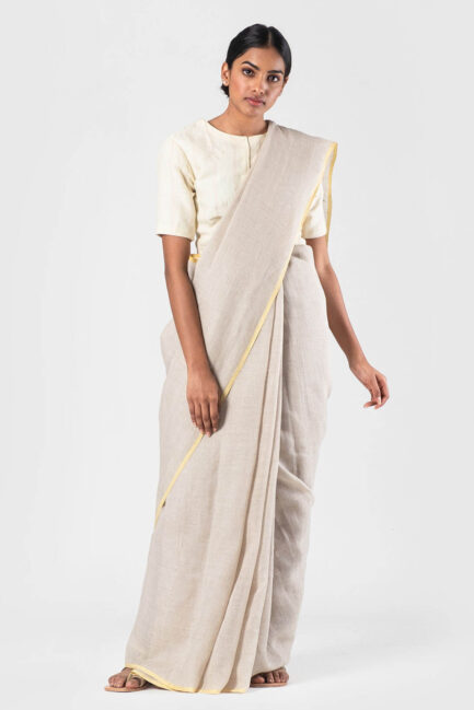 Anavila Natural Khadi linen soft checkered sari