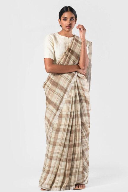 Anavila Khaki off white Summer plaid sari