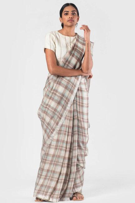 Anavila Khaki blue Summer plaid sari